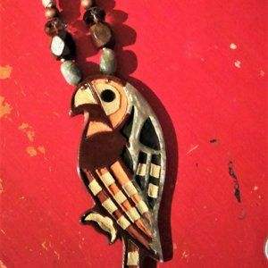 LARGE Parrot Statement Necklace w/Suede Inlay!